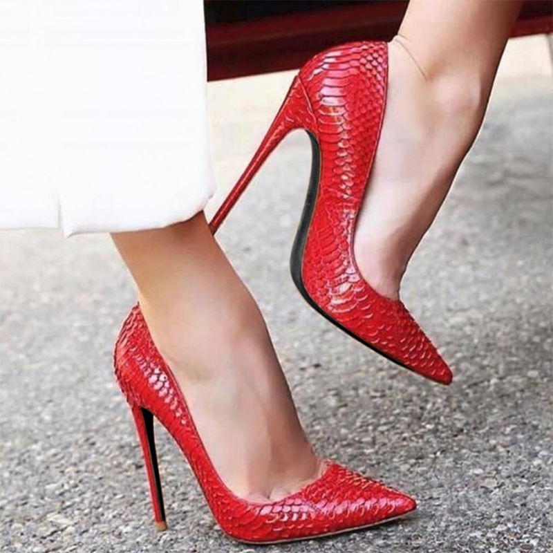 Roni Bouker Women Natural Snakeskin Leather Shoes Pointed Toe Pumps Woman Prom High Heels Wedding Shoe Red Gold DropshippingRoni Bouker Women Natural Snakeskin Leather Shoes Pointed Toe Pumps Woman Prom High Heels Wedding Shoe Red Gold Dropshipping