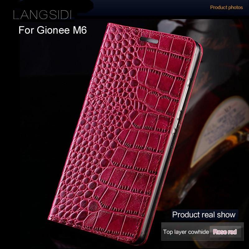 Luxury brand phone case genuine leather crocodile Flat texture phone case For Gionee M6 handmade phone case