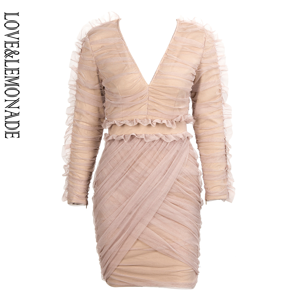 LOVE LEMOANDE Sexy Nude Color Deep V Neck Mesh Cross Ruffled Long Sleeve Party Dress LM90018