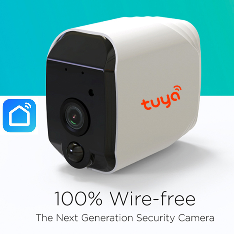 100 Wire Free Tuya WiFi Battery Powered 960P IP65 Outdoor Indoor Security PIR Camera Two Way