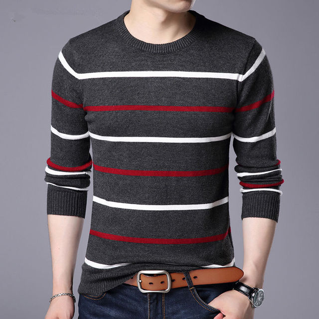 Pullover Men Brand Clothing 2019 Autumn Winter Wool Slim fit Sweater Men Casual Striped Pull Jumper Men