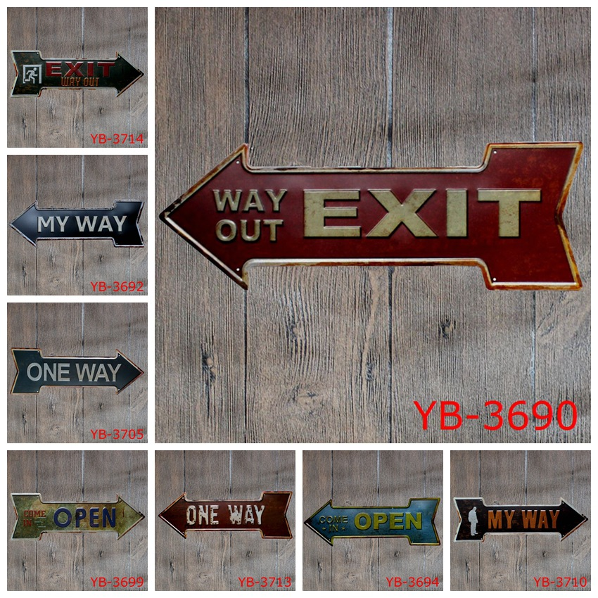 Antique retro metal tin sign direction arrow bar exit way open Iron painting poster craft vintage home wall decoration