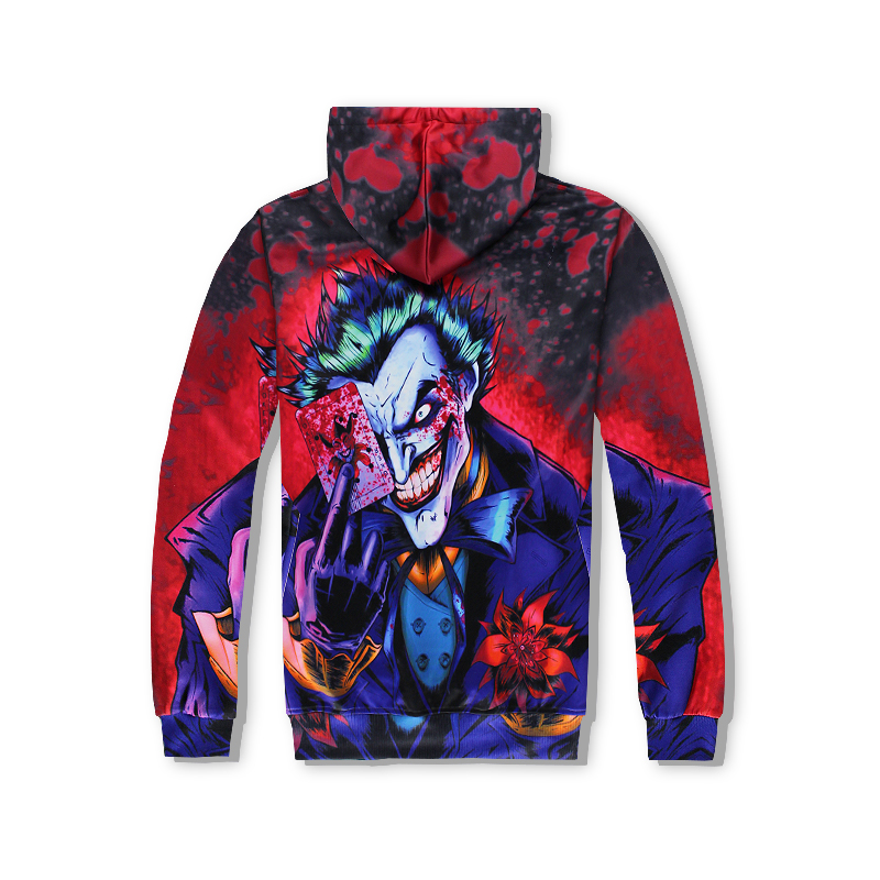 2018 Hot Sale Men Women Hoodies funny Joker 3D printed comics character joker with poker Hooded sweatshirt free shipping