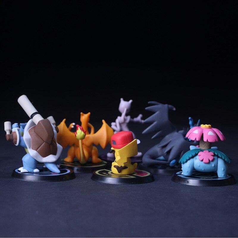 6pcs/set Pikachu Mewtwo Charizard Venusaur Blastoise Anime Model Figure Toys f