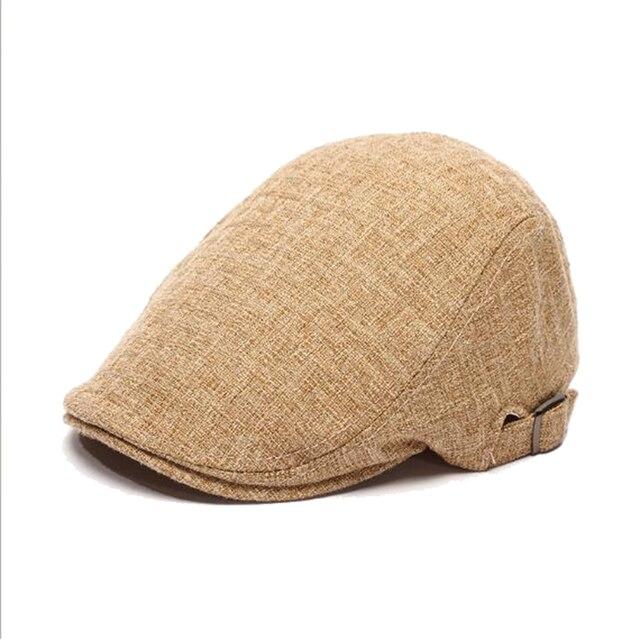 Mens Cotton Linen Vintage Flat Cap Summer