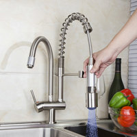 Kitchen Faucet Torneira High Quality LED Light Pull Out Down Nickel Brushed 8525 7D 2 Deck