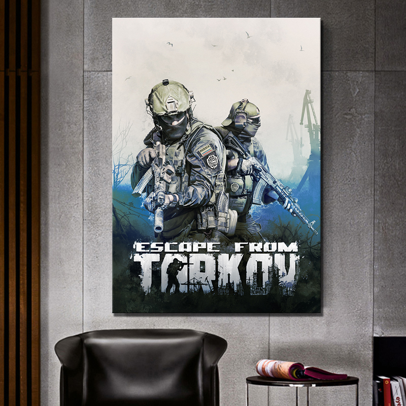 1 Piece HD Shooting Game Soldier Picture Print Escape From Tarkov Video Game Poster Wall Sticker Canvas Painting for Wall Decor