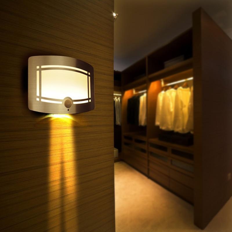 ФОТО Wireless Infrared Motion Sensor Wall LED Night Light Novelty Battery Powered Porch Night Lamp Motion Sensor Light For Home HM27