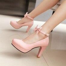 YMECHIC zapatos de tacón alto con plataforma para mujer, calzado de oficina, con lazo en el tobillo, color blanco, rosa y negro