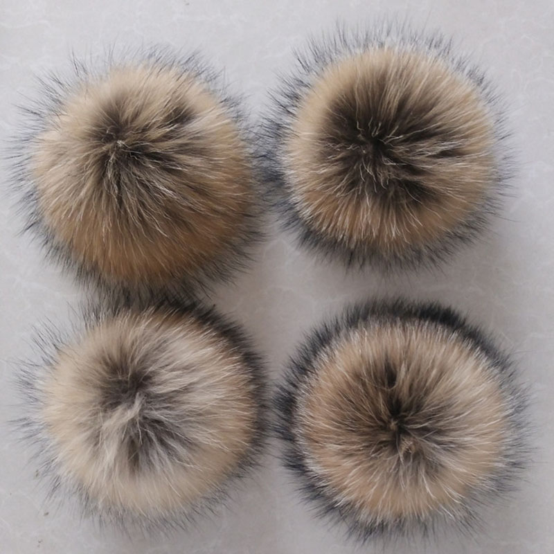 12-15cm Natural Hairball Hat Ball Pom Pom Handmade DIY Really Fox Large Hair Ball Wholesale Cap Accessories PomPom With Buckle