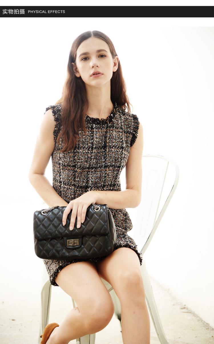 HTB1VjriQpXXXXatapXXq6xXFXXXK - Luxury Brand Women's Tweed Sleeveless Plaid Dress 2018 Winter or Spring Elegant Round Neck Slim A-Line Based Dress