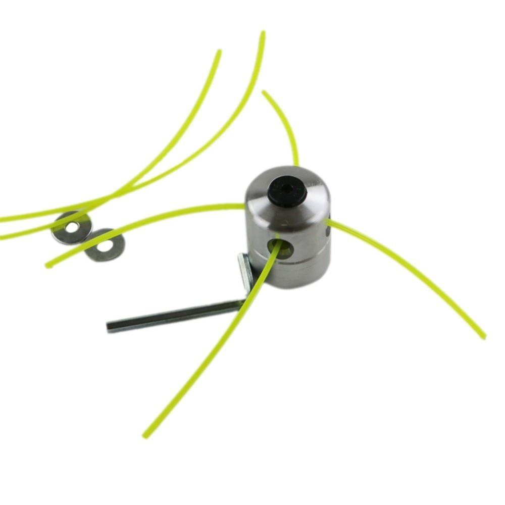 Cabezal de corte Universal para jardín, de aleación de aluminio, cabezal de corte de cuerda, juego de cortadores para hierba a gasolina con cepillo de 4 líneas