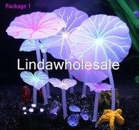 Fluorescent mushroom lotus leaf shape Aquarium landscaping decorations