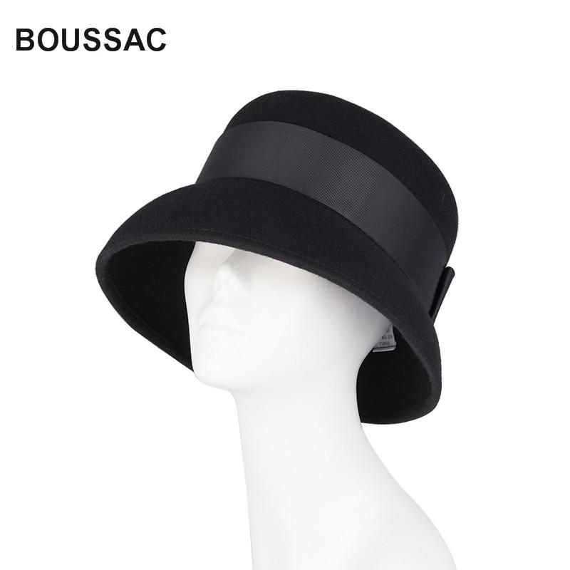 Vintage Wide Brim Hats For Women 100% Wool Fascinator Fedora Hat Winter Female Elegant Bowknot Felt Cloche Hats Chapeu KNBH01