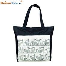 High quality Canvas Cartoon cat Pattern Girls Shopping Shoulder Bags Handbag Beach