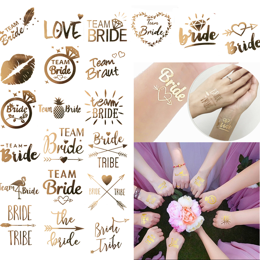 10pc Bachelorette Party Team Bride Bridesmaid Tribe Squad Temporary Tattoo Hen Night Golden Sticker Bride To Be Wedding Supplies(China)