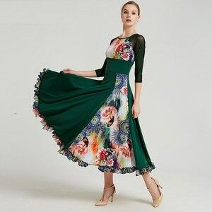 Image 4 - Impressão padrão vestido de salão de baile vestidos de dança padrão flamenco vestido de dança wear traje espanhol vestido de valsa de salão franja