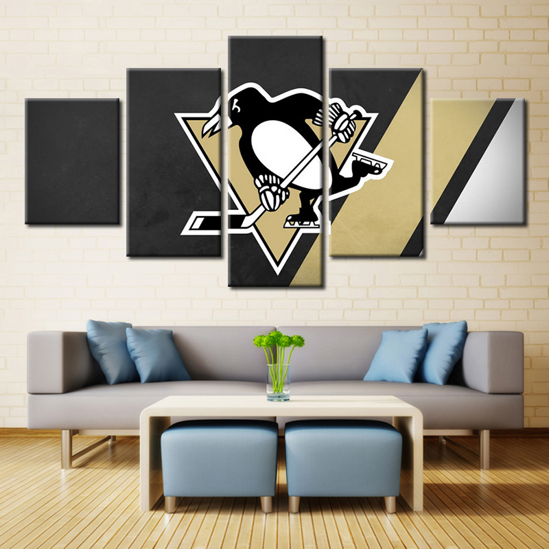 Nhl Pittsburgh Penguins Ice Hockey Oil Sport Team Logo Painting Canvas Fashion Wall Art Decor No