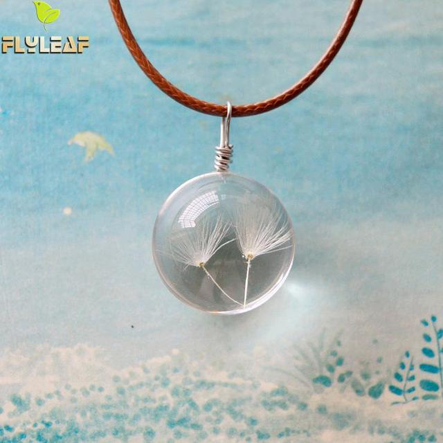 Flyleaf Handmade Ball Natural Dried white Dandelion Necklaces & Pendants For Wom