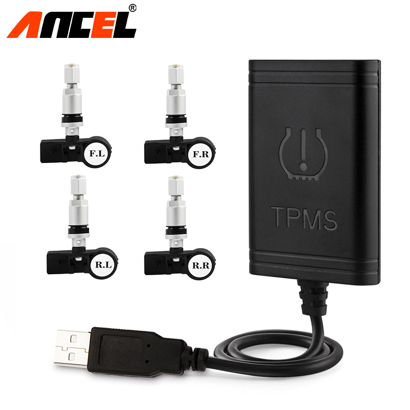 ANCEL Original Auto Car Wireless TPMS Tire Pressure Monitoring System with 4 Internal Sensors For TPMS USB Interface Charge цены онлайн