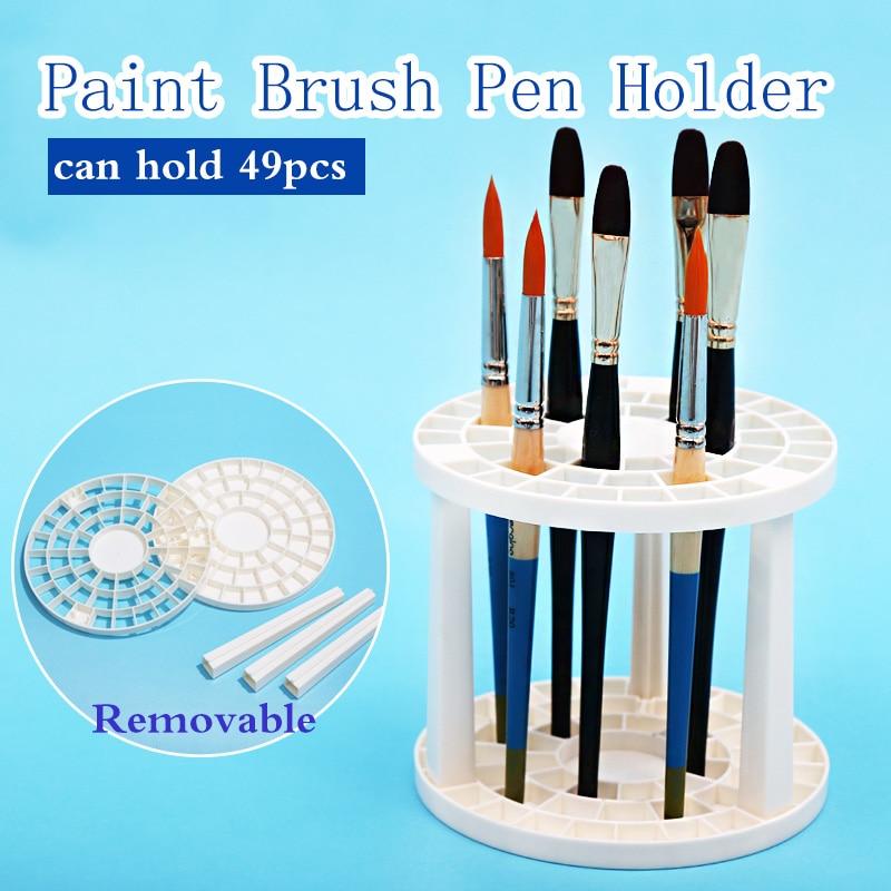 Bgln Paint Brush Pen Holder 49 Holes Pen Rack Display Stand Support Holder Watercolor Painting Brush Pen Holder Art Supplies