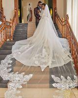 Новый Специальный Дизайн Длинные Свадебные вуали 2019 кружево, аппликация бисером фаты и свадебные Фата, свадьба индивидуальный заказ