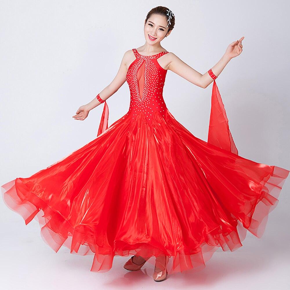 2018 New Ballroom Dance Dress 10color Ballroom Dancing S XXXL Flamenco  Dance Costumes Luxury Vestidos De ...
