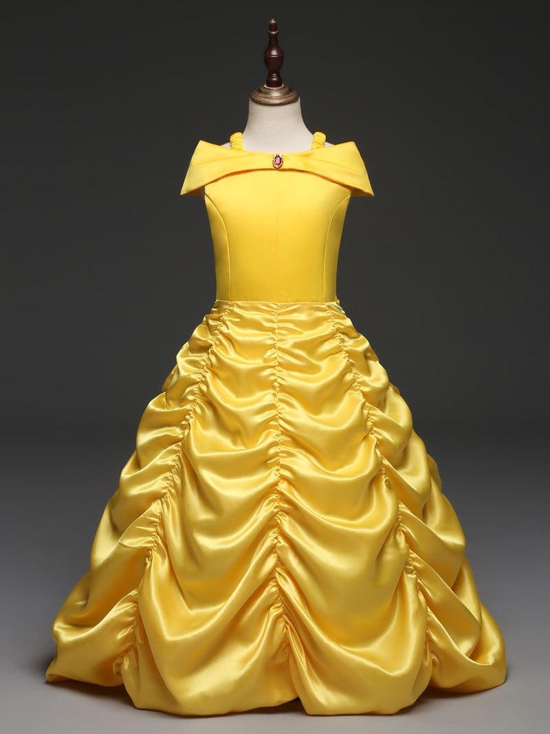 2017 Girls Dress Yellow Color Off Shoulder Kids Princess ...
