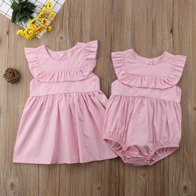 93b54476d42 New Newborn Baby Girl Sister Matching Clothes Solid Summer Pink Romper Dress  Outfit Set