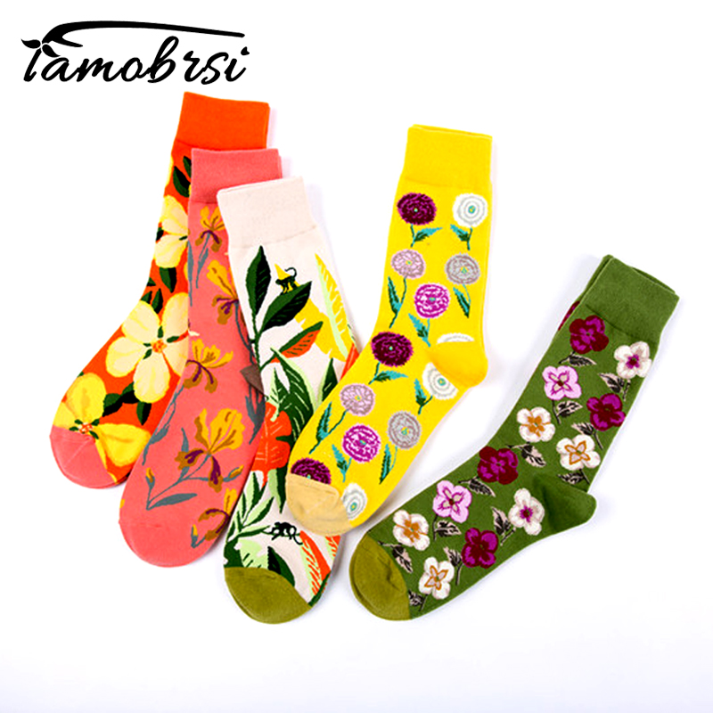 New Street Style Flower Plant Winter Women Happy   Socks   Funny Lady Couple   Socks   Warm Personality Men   Socks   Male Sokken Female