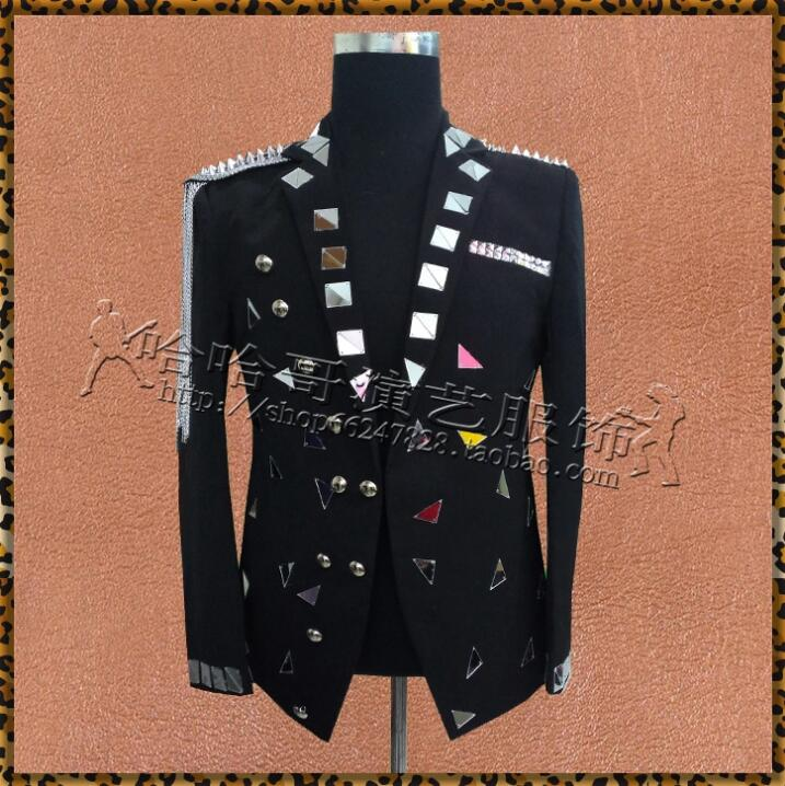 Hot high quality New men's mirror small suit Coats Nightclub bar male singer lens Blazer costumes stage sequins show suits S-3XL