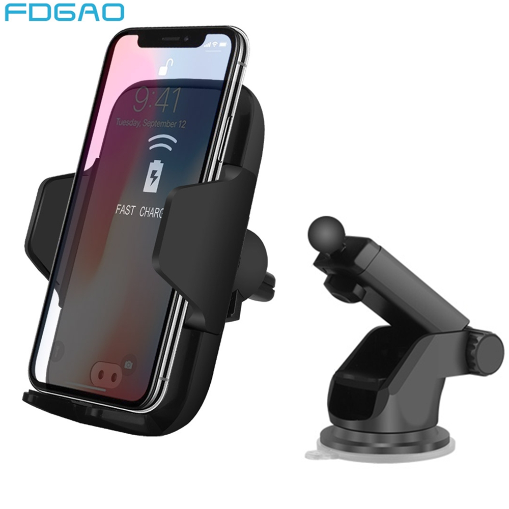 US $11 32 50% OFF Fdgao Qi Automatic Wireless Car Charger For iPhone X 8 XS  Max XR Samsung S9 Fast Charging Infrared Sensor Auto Open Car Holder-in