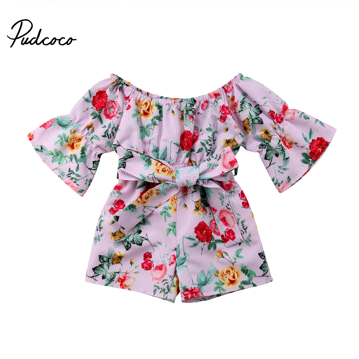 Pudcoco 2018 Newborn Kids Baby Girl Romper Floral Flared Sleeve Bowknot Party Sunsuit Jumpsuit Playsuit Clothes Outfits Summer