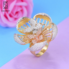 Siscathy Luxury Flower Women Wedding Rings Butterfly Cubic Ziron Engagement Dubai Nigerian Bridal Statement Finger