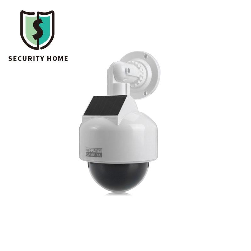 ESCAM Dummy Camera Solar Energy Realistic Dummy Dome Camera Surveillance Security With CCTV Sticker Blinking Red LED Light solar dummy security camera with blinking light silver