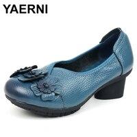 YAERNI 2018 Spring Women Shoes Genuine Leather Women Pumps Handmade Flower Comfortable Vintage Style High Heels E529