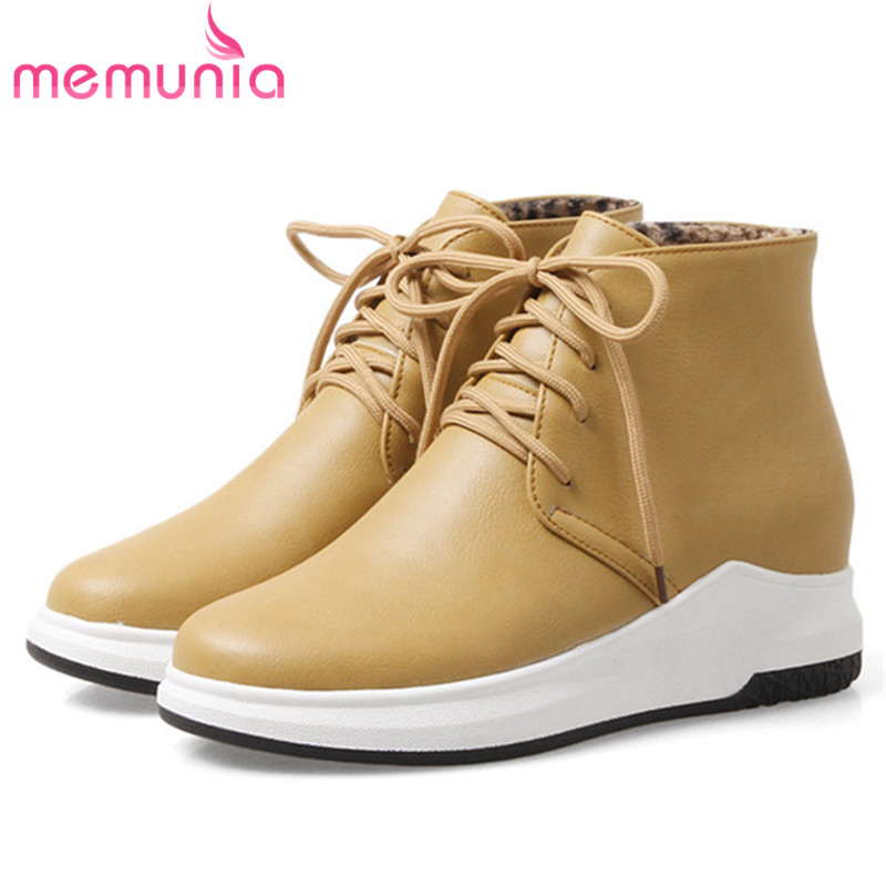 MEMUNIA Big size 34-43 ankle boots for women fashion shoes woman comfortable womens boots platform PU lace-up round toe odetina fashion genuine leather ankle boots flat woman round toe platform lace up boots autumn winter casual shoes big size 43