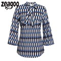 Zeagoo Work Blouses Casual V-Neck Three Quarter Sleeve Print Blouses Shirts Autumn Geometric Patterns Lace Up Plus Size Shirt
