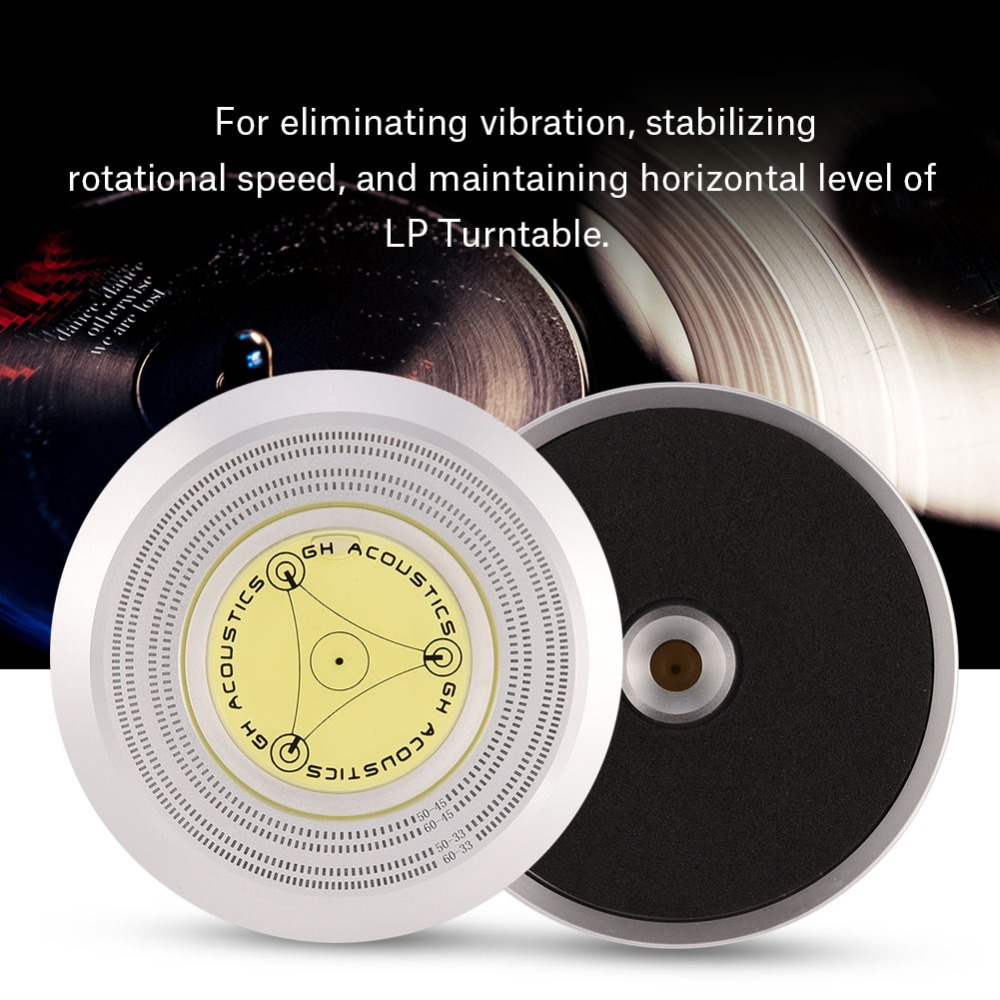 50/ 60Hz Bubble Level Speed Detection Turntable LP Vinyl Disc Record Stabilizer Clamp
