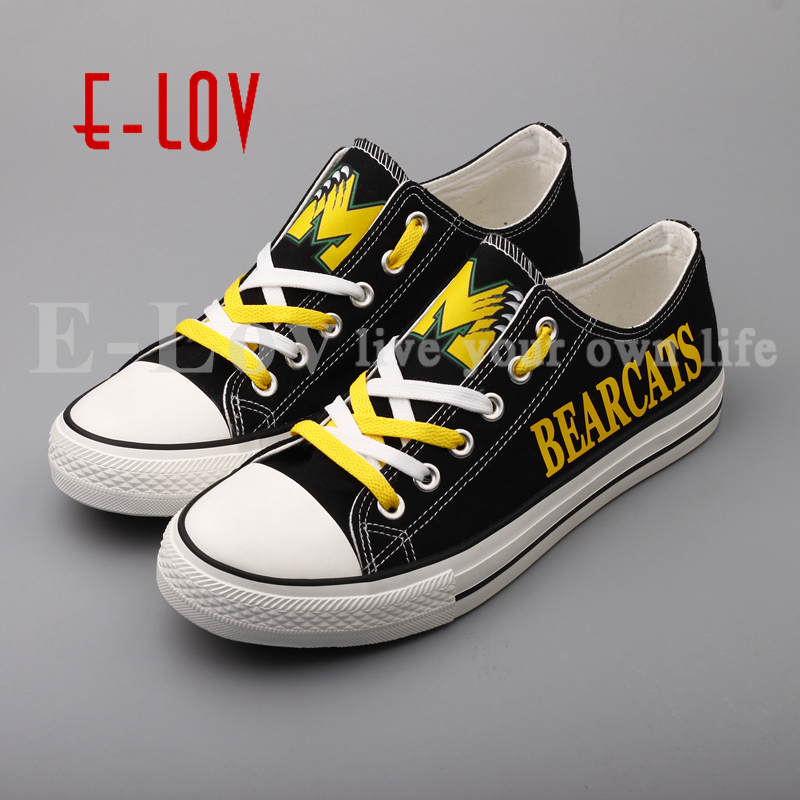 E-LOV Hot Sale College Moody Bearcats Print Canvas Shoes Black Low Top Color Lace Print Team Shoes Drop Shipping e lov women casual walking shoes graffiti aries horoscope canvas shoe low top flat oxford shoes for couples lovers
