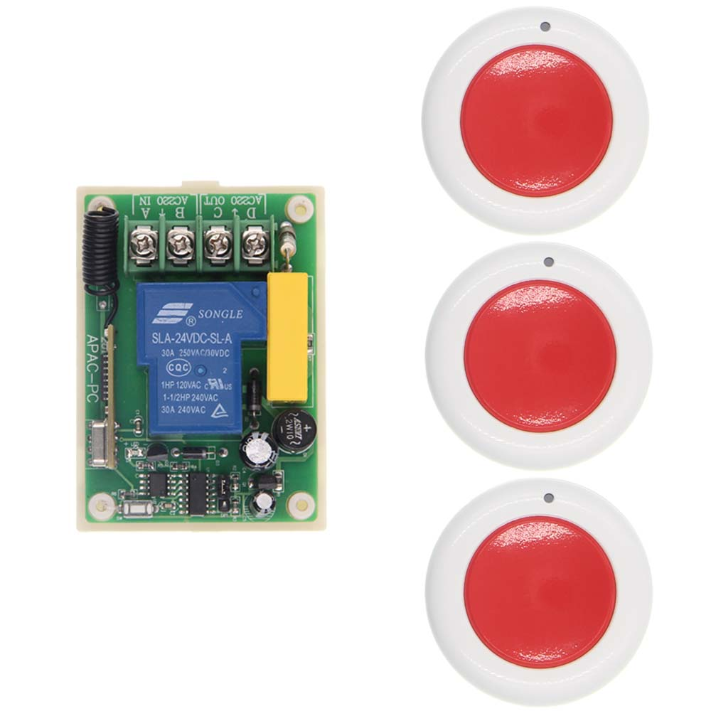 Universal AC 220V 30A Relay 1CH 1 CH Wireless Remote Control Switch Receiver and RF Roundness Transmitter,315 / 433,Toggle