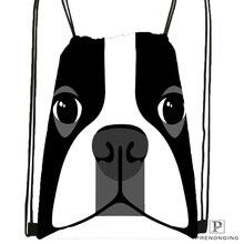 Custom Black White Dog Boston Terrier Drawstring Backpack Bag Cute Daypack Kids Satchel (Black Back) 31x40cm#180531-02-30