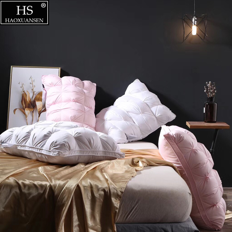 HS 3D Twist flower 48*74cm rectángulo blanco pluma de ganso/pato abajo almohadas a prueba de plumón 100% poliéster 80S tela 1,3 kg