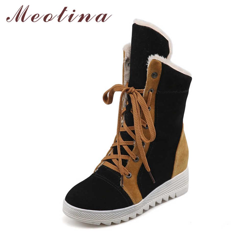 Meotina Kadın Botları Kış Kar Botları yarım çizmeler Dantel Up Yüksekliği Artan Platformu Kadın Peluş Ayakkabı siyah Boyutu 34-43