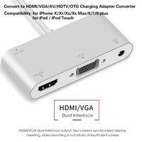HDTV OTG kablo HDMI VGA AV Ses Video 3.5mm Adaptör Uzatır HUB IPhone X/Xr/Xs /Xs Max/8/7/6/iPad/iPod