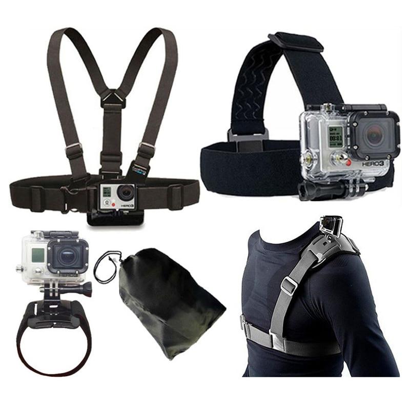 For GoPro Accessories Kit Head Belt Chest Belt Wrist Strap Bag Strap For Gopro 7 SJCAM SJ4000 SJ6 SJ7 M20 SJ8 Pro SJ9 Series Yi