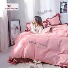 SlowDream 100% Cotton Bedding Set Pink Duvet Cover Bed Flat Sheet Lace Decor Bedspread Linen Solid Color Adult Girl Gift