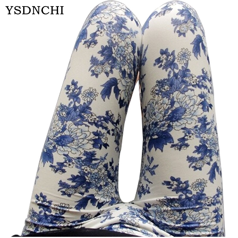 New Spring Summer Ethnic Style Chinese Landscape Paintings Flowers Slim Trousers Porcelain Printed High Elasticity Leggings