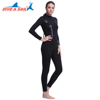 DIVE&SAIL Full Body 5MM Neoprene SCR Women Scuba Diving Wetsuit Fleece Lining Dive Suit for Winter Swimming Surfing Snorkeling