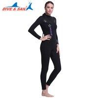 DIVE&SAIL Full Body 5MM Neoprene SCR Women Scuba Diving Wetsuit Fleece Lining Dive Suit for Winter Swimming Surfing Snorkeling